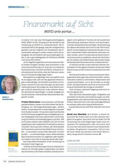 Finanzmarkt auf Sicht Finanzmarkt auf Sicht: MiFiD ante portas … - Börse Social Magazine #08