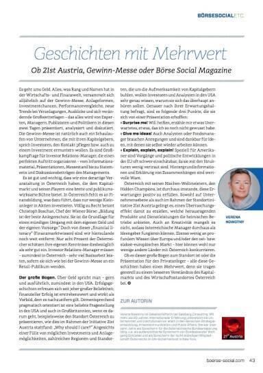 Geschichten mit Mehrwert - Börse Social Magazine #09