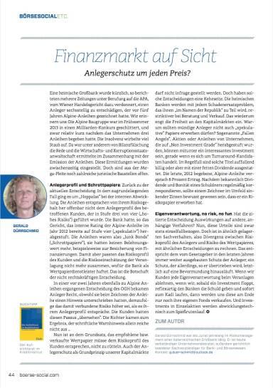 Finanzmarkt auf Sicht - Anlegerschutz um jeden Preis? - Börse Social Magazine #09
