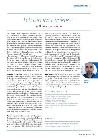 Bitcoin im Bäcktest - # Haters gonna hate - Börse Social Magazine #09