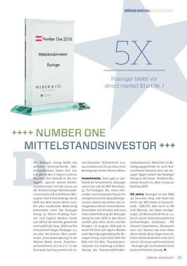 Number One 2018 Rosinger Mittelstandsinvestor