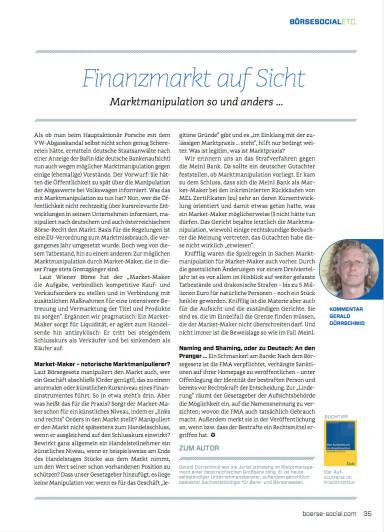 Finanzmarkt auf Sicht: Marktmanipulation so und anders … - Börse Social Magazine #05